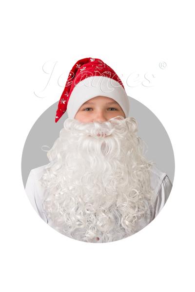Колпак Новогодний красный с бородой, плюш со снежинками