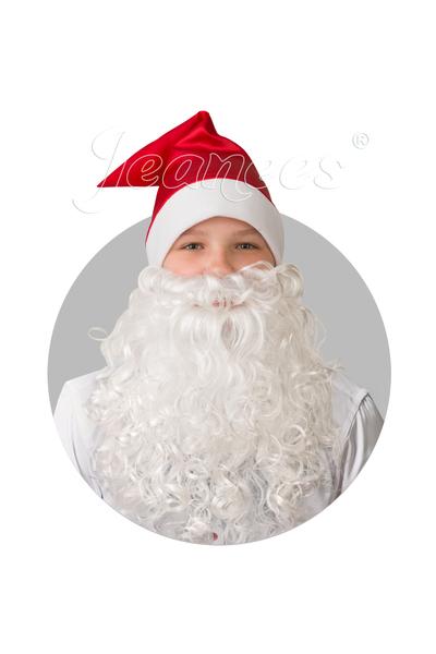 колпак красный сатин с бородой