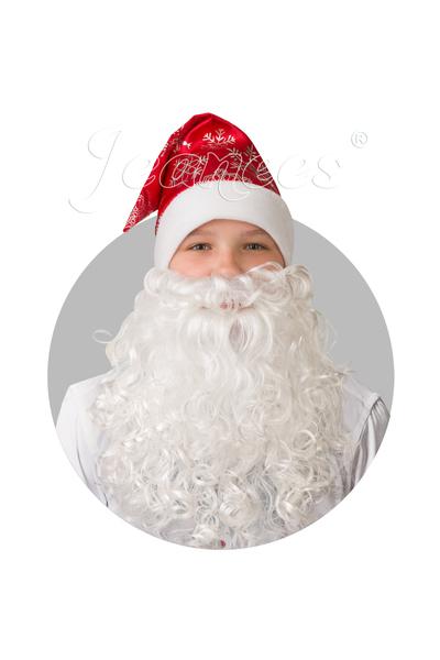 Колпак красный с бородой, сатин со снежинками