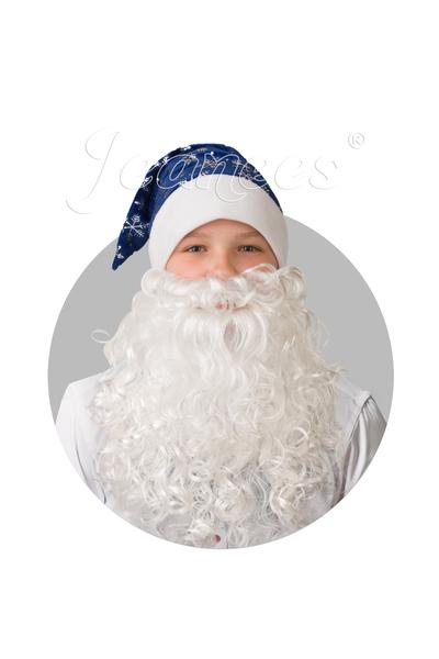 Колпак синий с бородой, плюш со снежинками