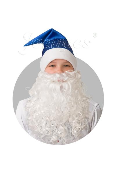 Колпак синий с бородой, сатин