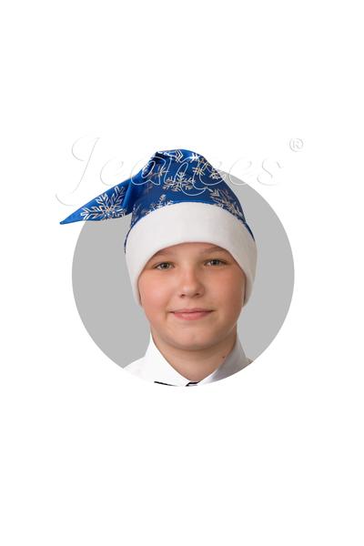 Колпак Новогодний синий, сатин со снежинками