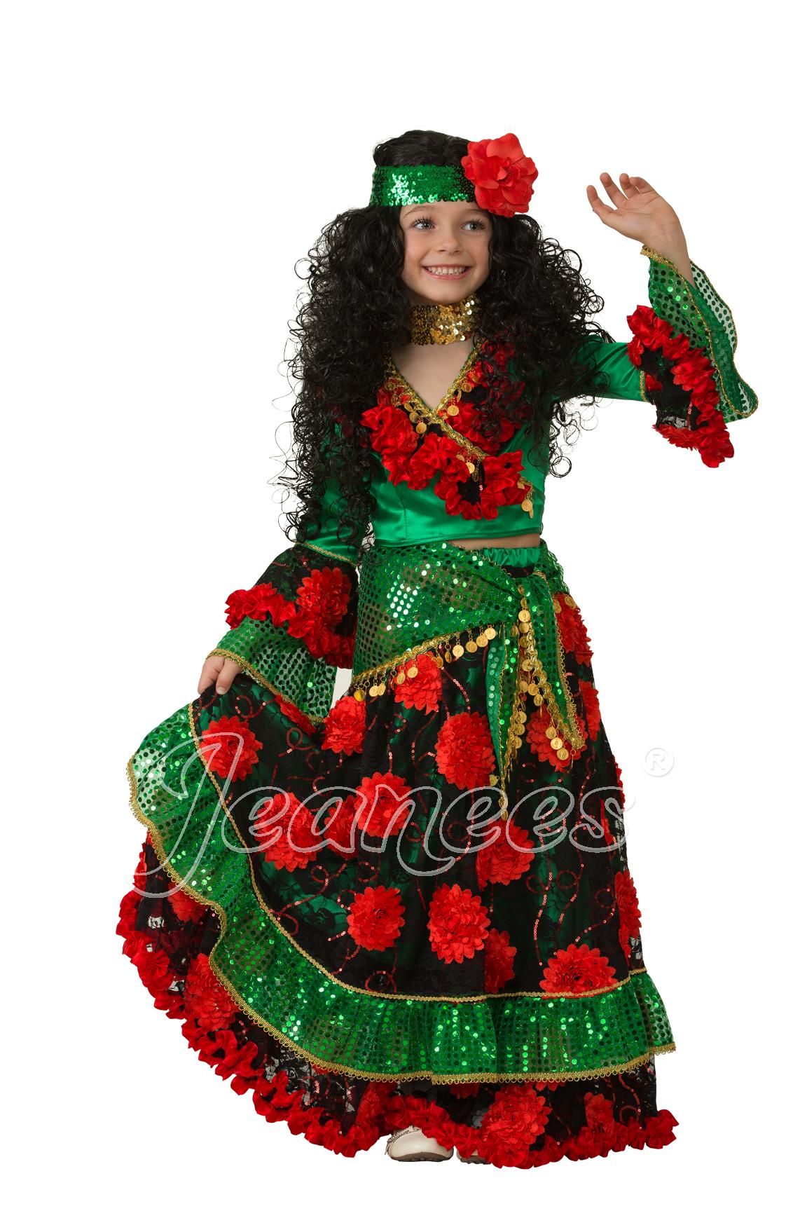 Цыганка-гадалка зеленая детский театральный костюм, изображение 2