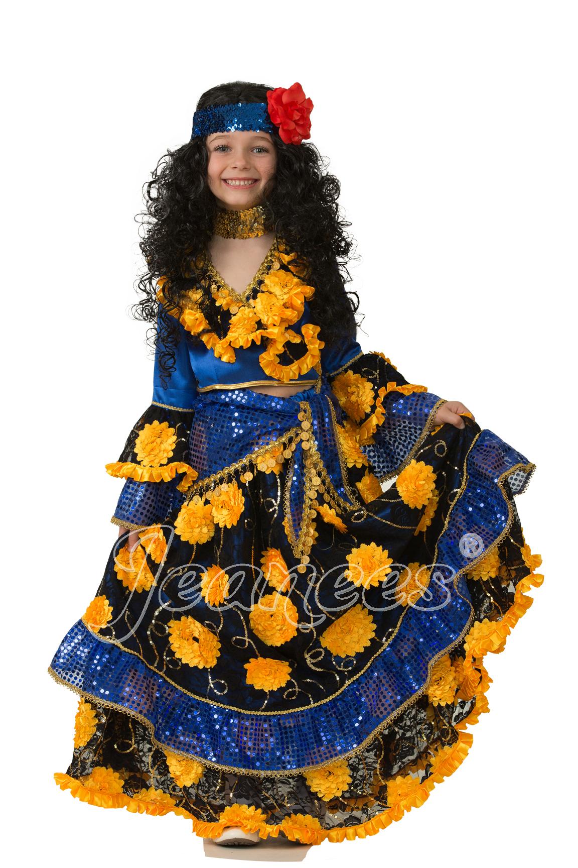 Цыганка-гадалка синяя детский маскарадный костюм