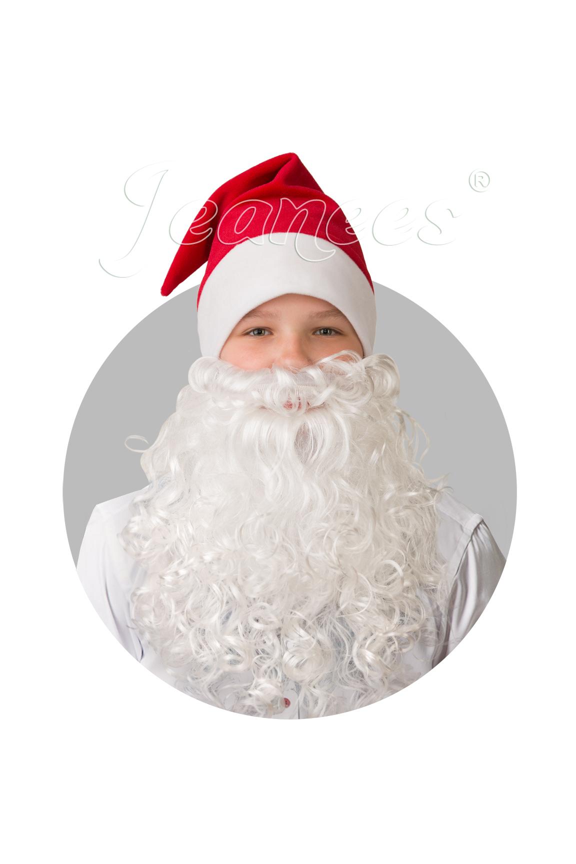 Колпак Новогодний красный плюш с бородой