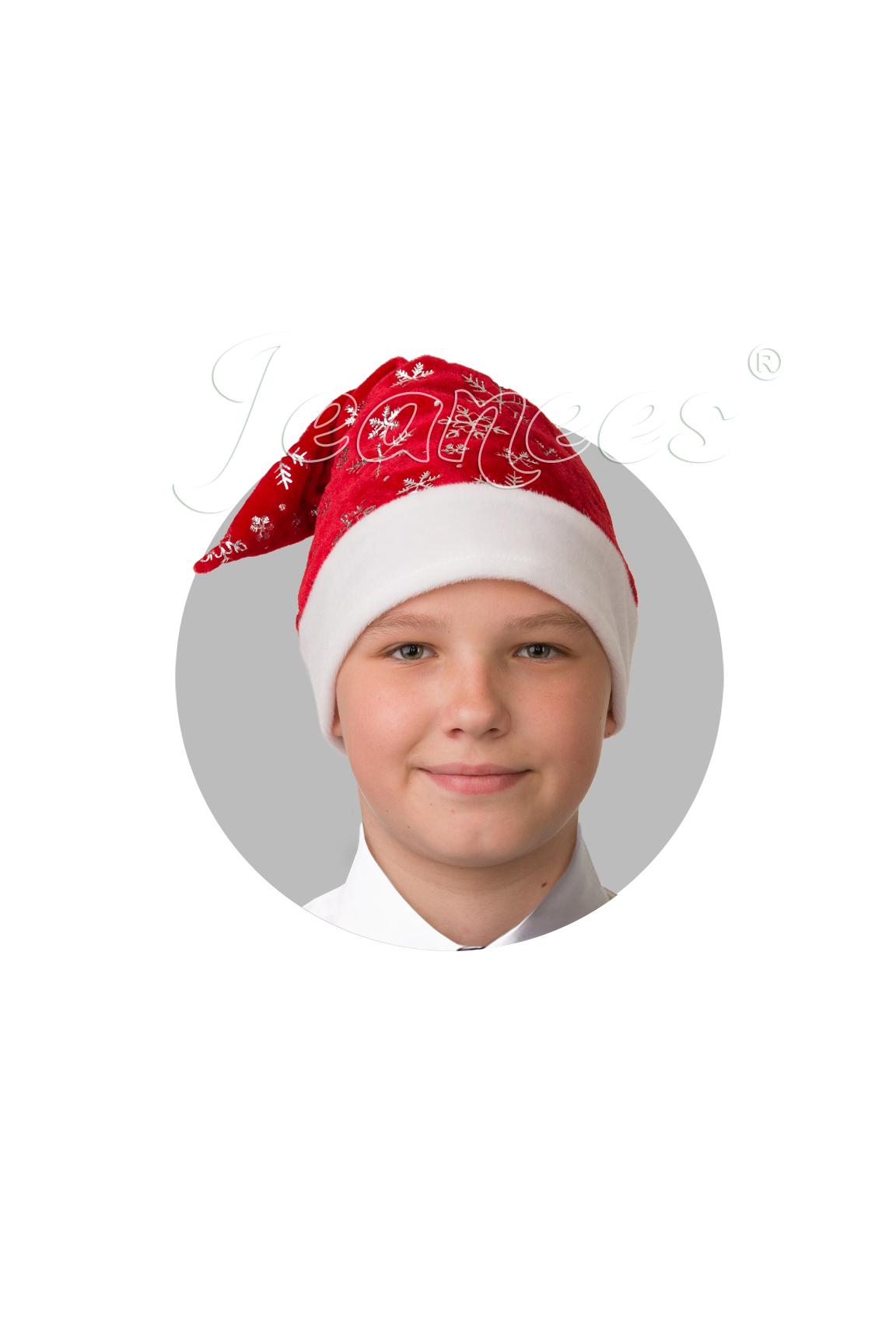 Колпак Новогодний красный плюш со снежинками