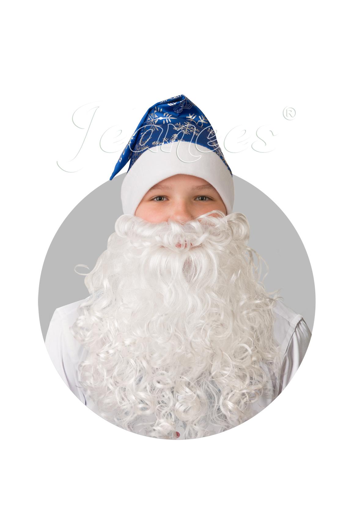 Колпак Новогодний синий с бородой, сатин со снежинками